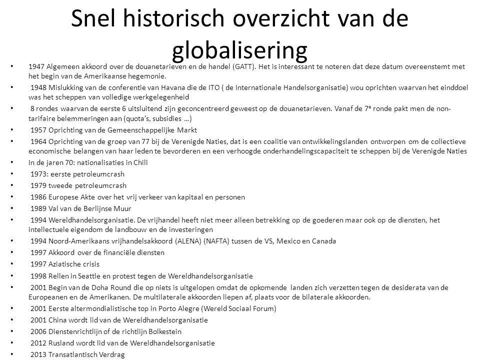 Snel historisch overzicht van de globalisering 1947 Algemeen akkoord over de douanetarieven en de handel (GATT). Het is interessant te noteren dat dez