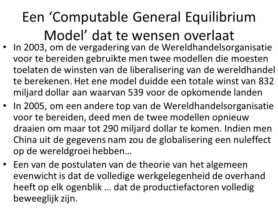 Een 'Computable General Equilibrium Model' dat te wensen overlaat In 2003, om de vergadering van de Wereldhandelsorganisatie voor te bereiden gebruikt