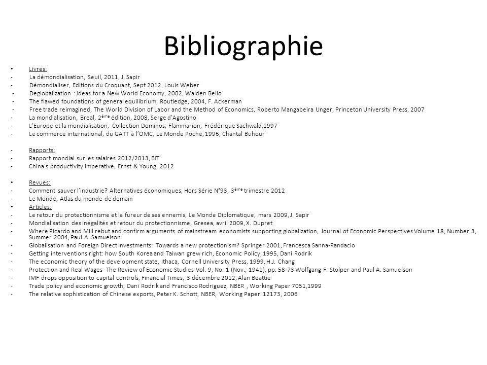 Bibliographie Livres: - La démondialisation, Seuil, 2011, J. Sapir - Démondialiser, Editions du Croquant, Sept 2012, Louis Weber - Deglobalization : I