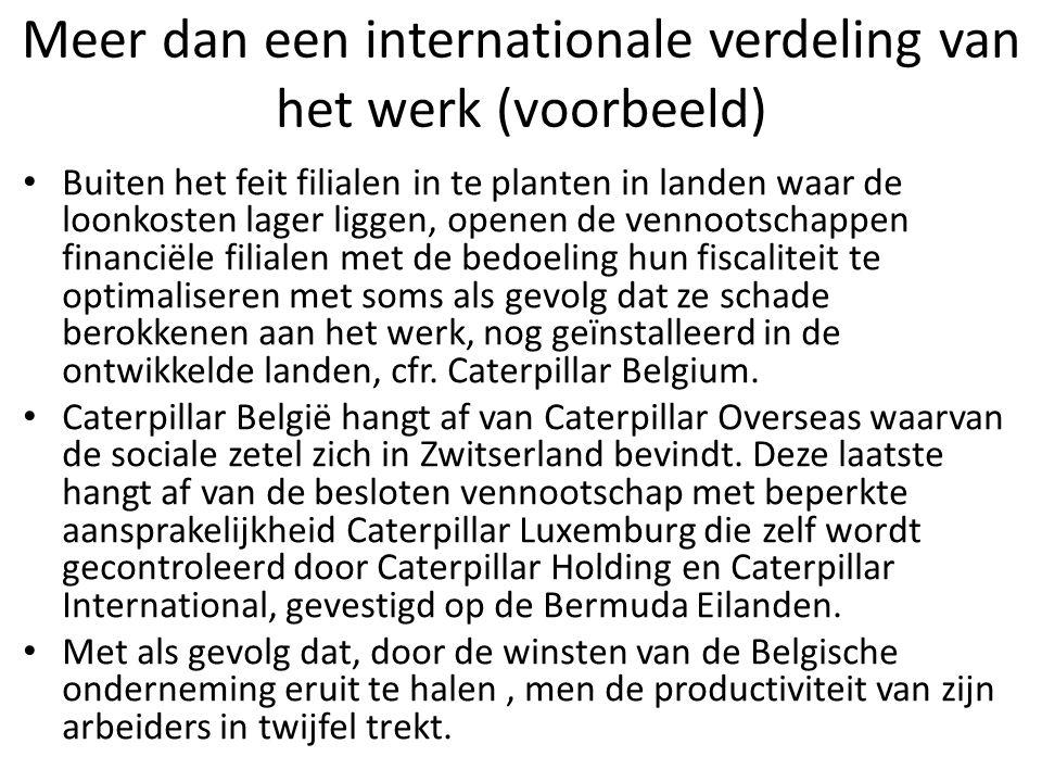 Meer dan een internationale verdeling van het werk (voorbeeld) Buiten het feit filialen in te planten in landen waar de loonkosten lager liggen, opene