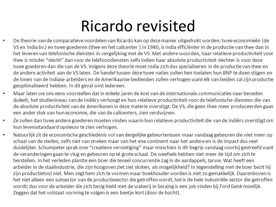 Ricardo revisited De theorie van de comparatieve voordelen van Ricardo kan op deze manier uitgedrukt worden: twee economieën (de VS en India bv.) en t