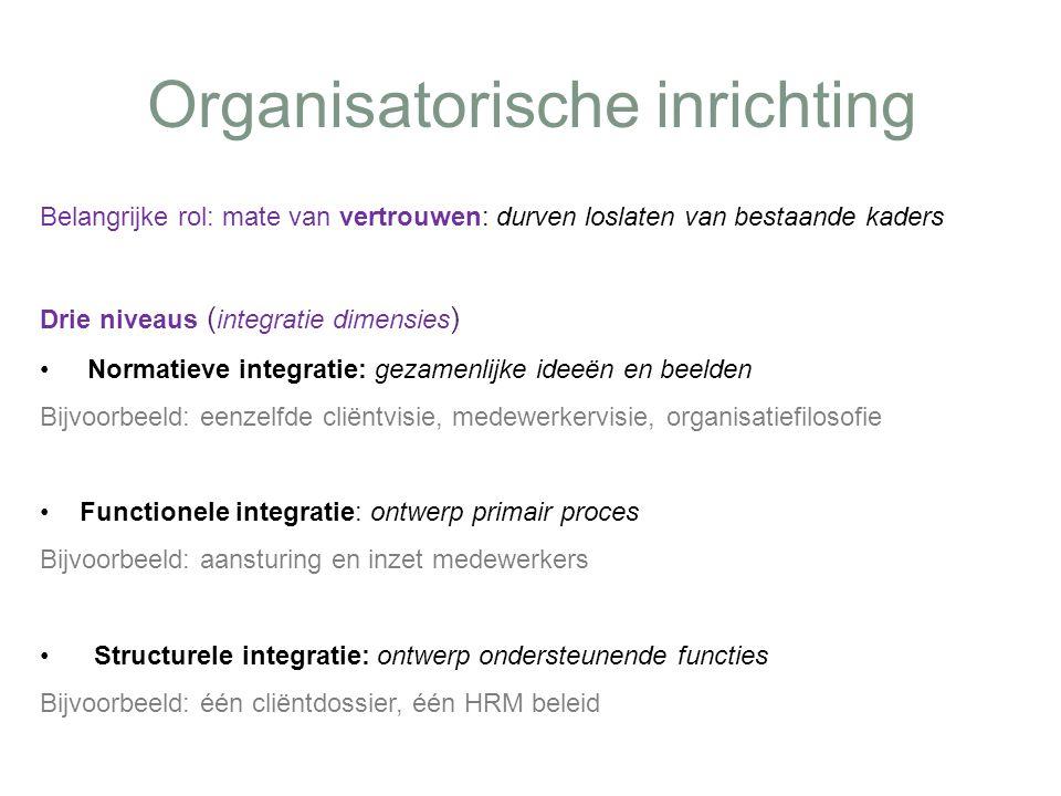 Organisatorische inrichting Belangrijke rol: mate van vertrouwen: durven loslaten van bestaande kaders Drie niveaus ( integratie dimensies ) Normatiev