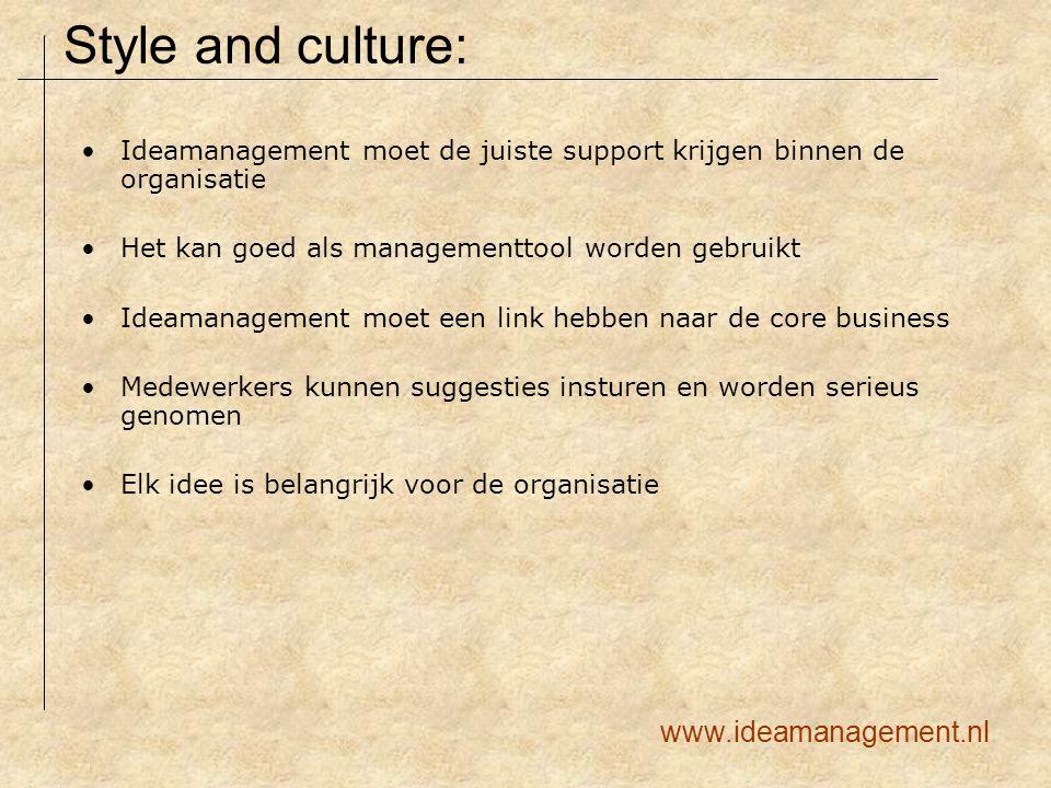 Ideamanagement moet de juiste support krijgen binnen de organisatie Het kan goed als managementtool worden gebruikt Ideamanagement moet een link hebbe
