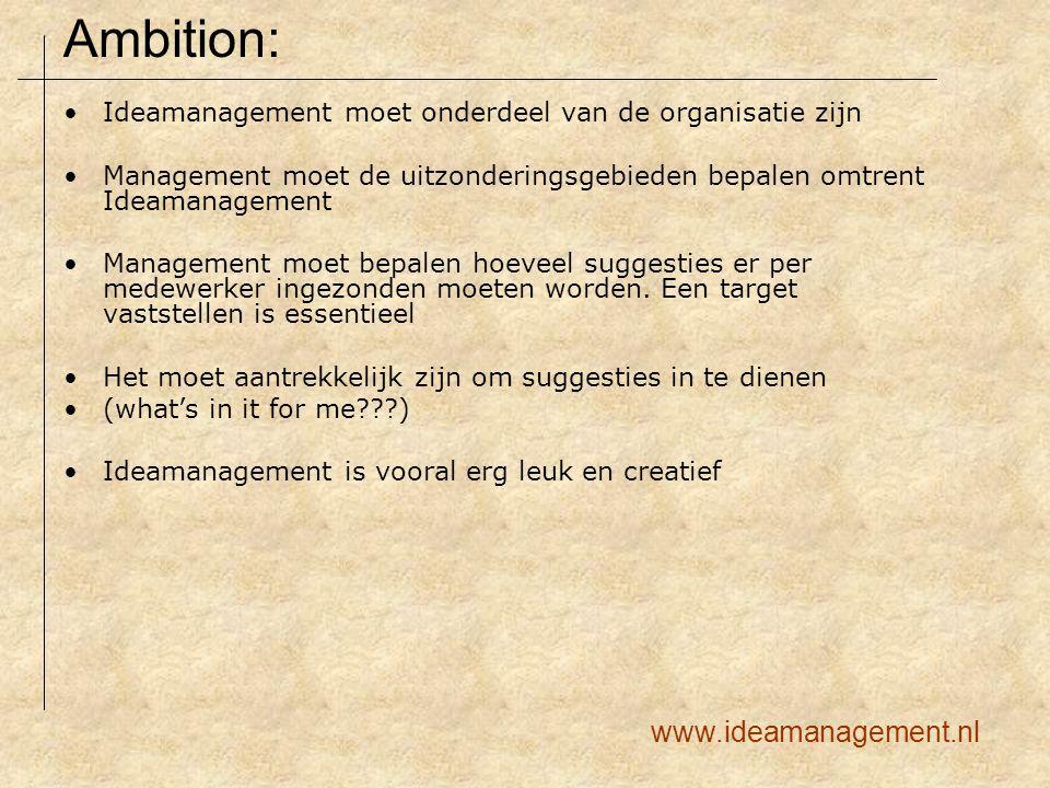Ideamanagement moet onderdeel van de organisatie zijn Management moet de uitzonderingsgebieden bepalen omtrent Ideamanagement Management moet bepalen hoeveel suggesties er per medewerker ingezonden moeten worden.