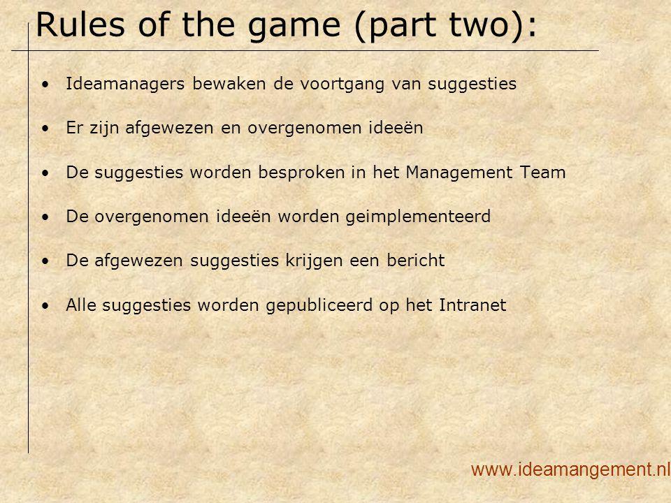 Ideamanagers bewaken de voortgang van suggesties Er zijn afgewezen en overgenomen ideeën De suggesties worden besproken in het Management Team De over