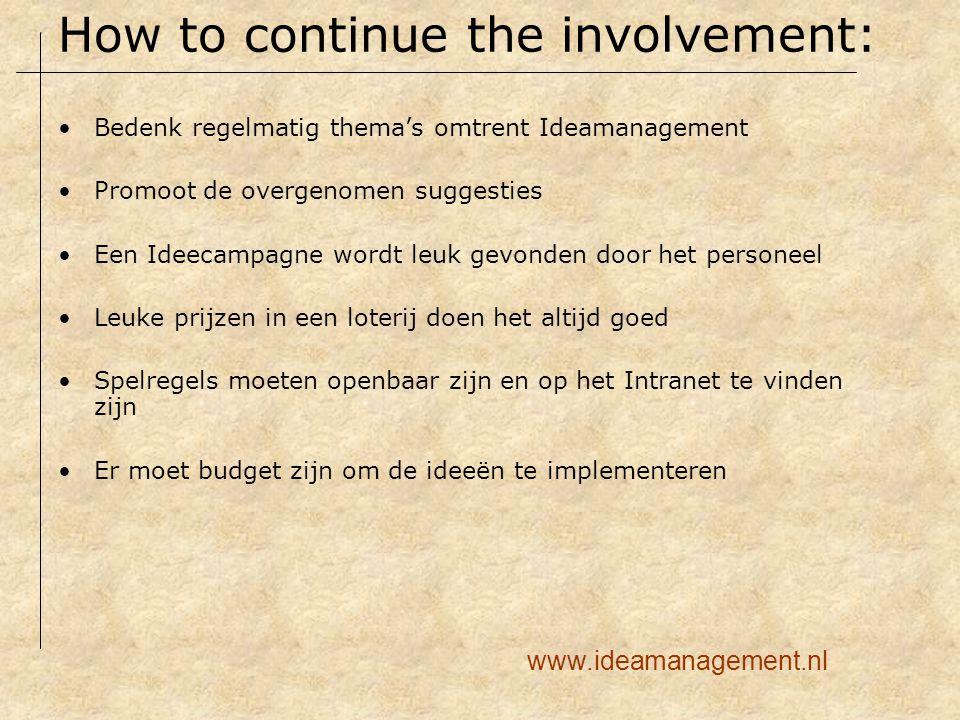 Bedenk regelmatig thema's omtrent Ideamanagement Promoot de overgenomen suggesties Een Ideecampagne wordt leuk gevonden door het personeel Leuke prijz