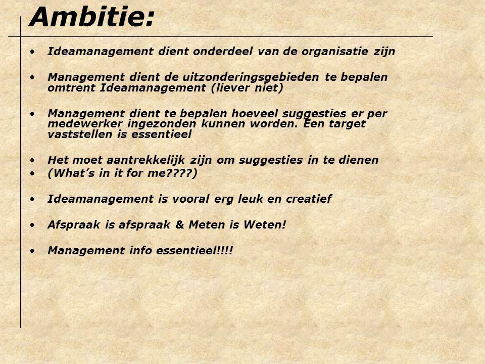 Elk idee krijgt een ontvangstbevestiging binnen 24 uur Ideamanagement heeft eigen beloningssysteem Voor elk idee is er een incentive bij indiening (mintblaadjes of iets specifieks vanuit de zorg) Het beloningssysteem moet passen bij het bedrijf 10 procent van de netto besparing als beloning is de standaard norm in Nederland maar hoeft niet (Directie laten bepalen) Mok Haagse Hopjes of Blikken drop zijn een hit voor goede ideeën die geen besparing opleveren en voor elk idee is er dus een incentive…kom wel met iets ook al is het een leuke pen voor het volgende idee… Beloning & Waardering: