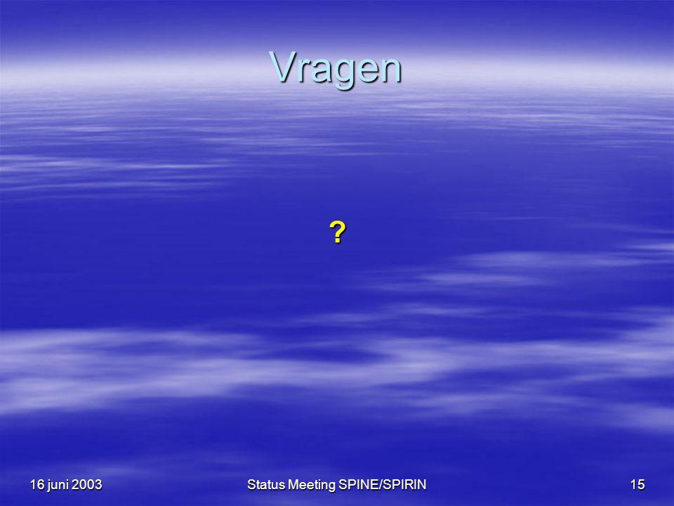 16 juni 2003Status Meeting SPINE/SPIRIN15 Vragen