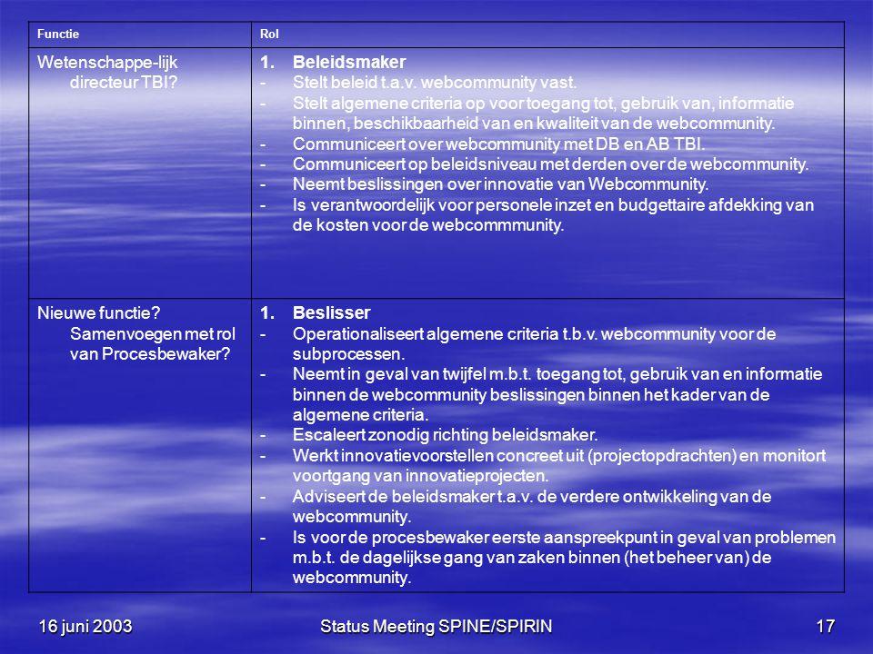 16 juni 2003Status Meeting SPINE/SPIRIN17 FunctieRol Wetenschappe-lijk directeur TBI.