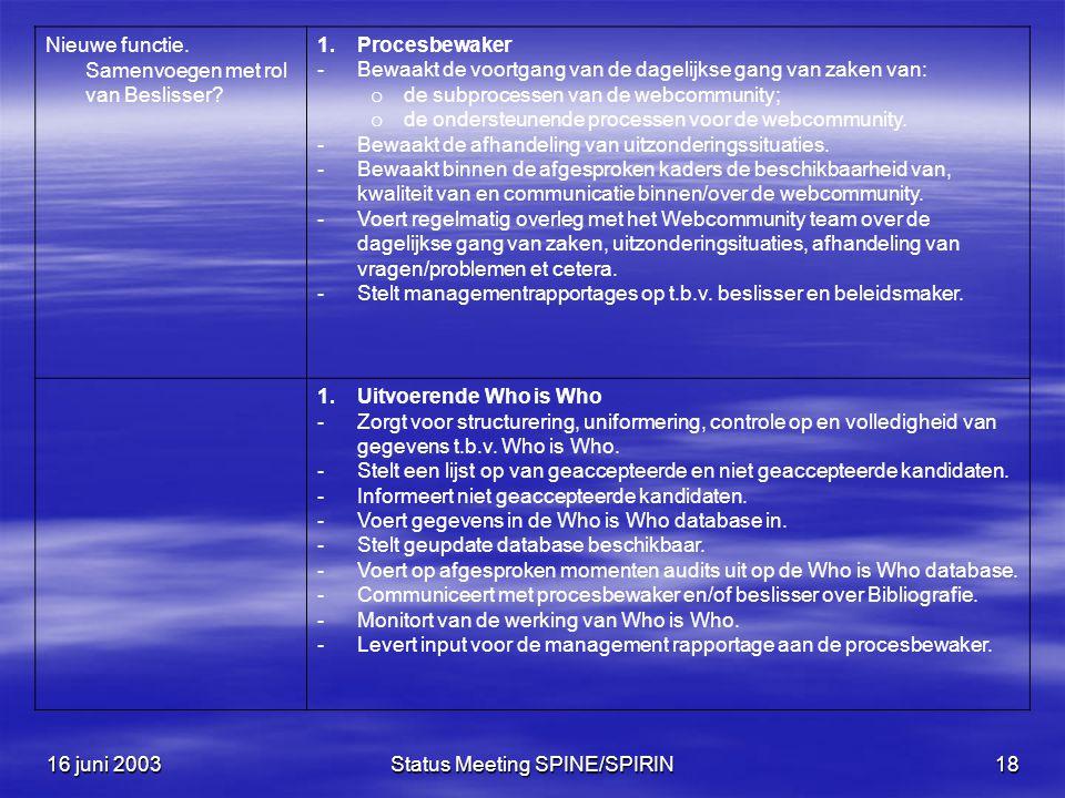 16 juni 2003Status Meeting SPINE/SPIRIN18 Nieuwe functie.