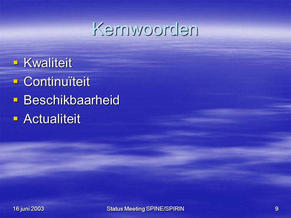 16 juni 2003Status Meeting SPINE/SPIRIN9 Kernwoorden  Kwaliteit  Continuïteit  Beschikbaarheid  Actualiteit