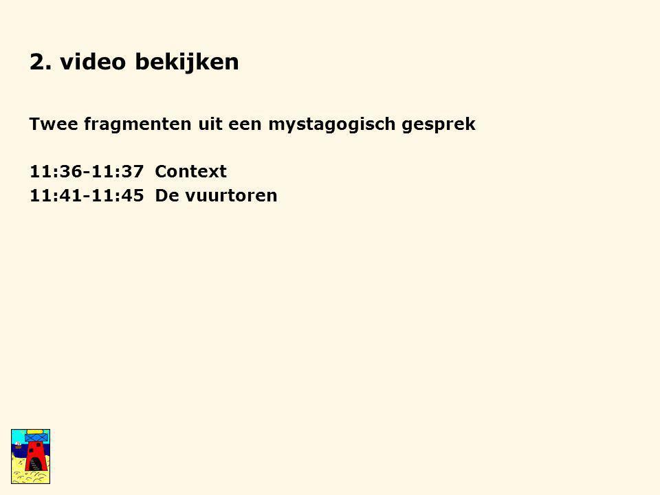 2. video bekijken Twee fragmenten uit een mystagogisch gesprek 11:36-11:37 Context 11:41-11:45 De vuurtoren
