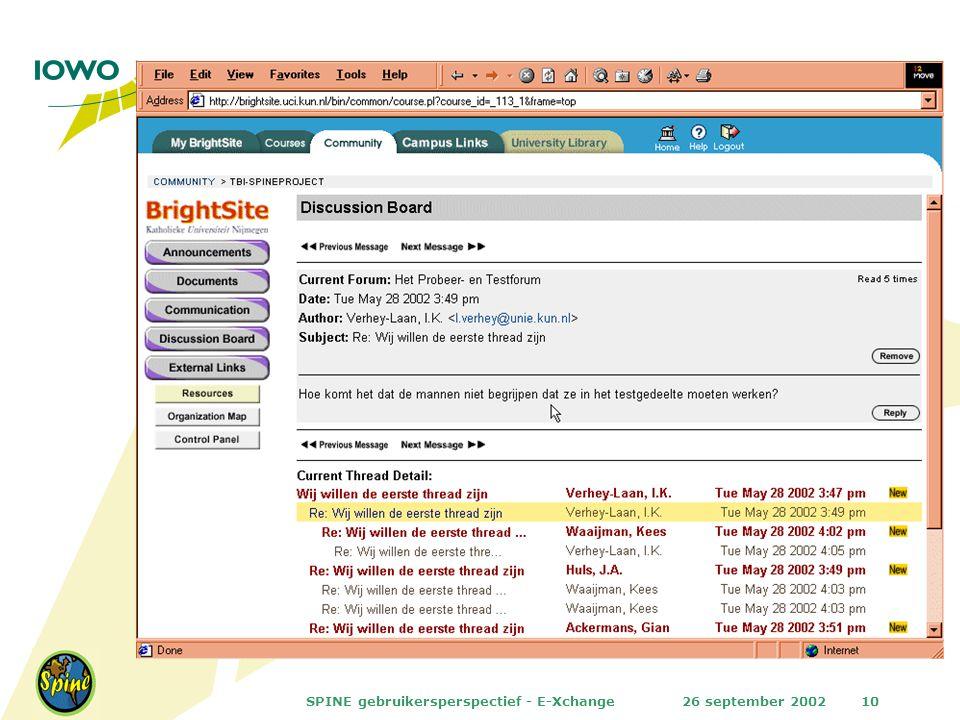 26 september 2002SPINE gebruikersperspectief - E-Xchange10