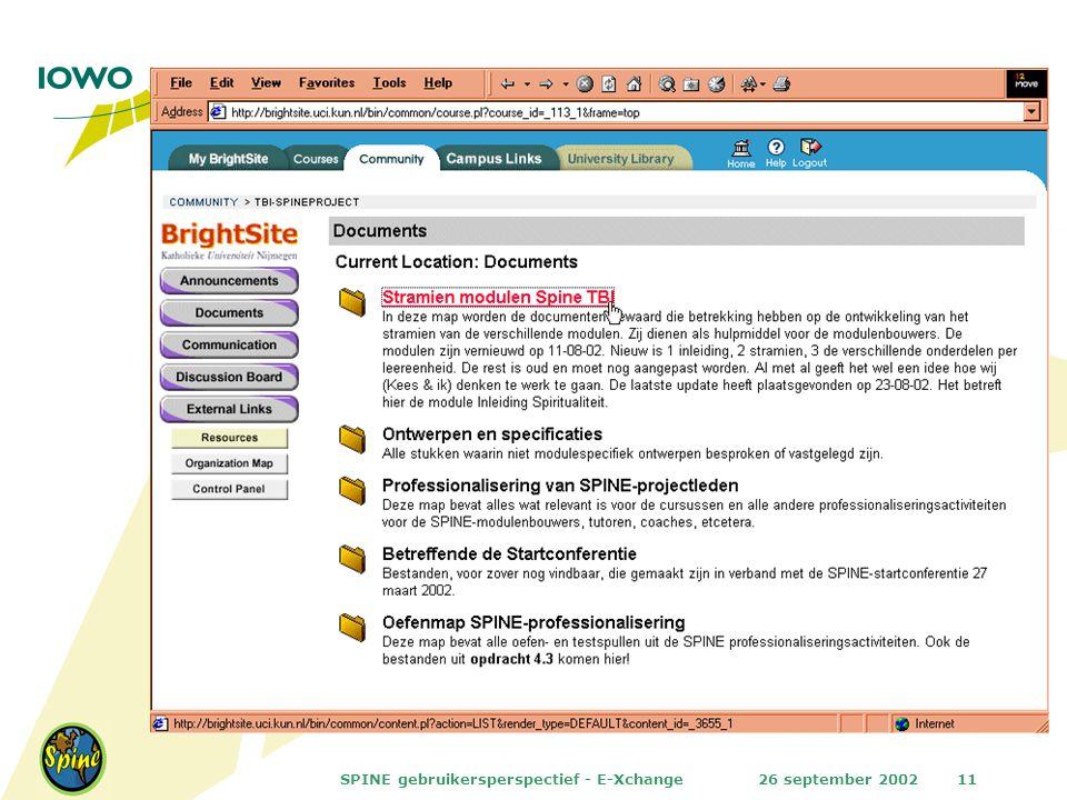 26 september 2002SPINE gebruikersperspectief - E-Xchange11