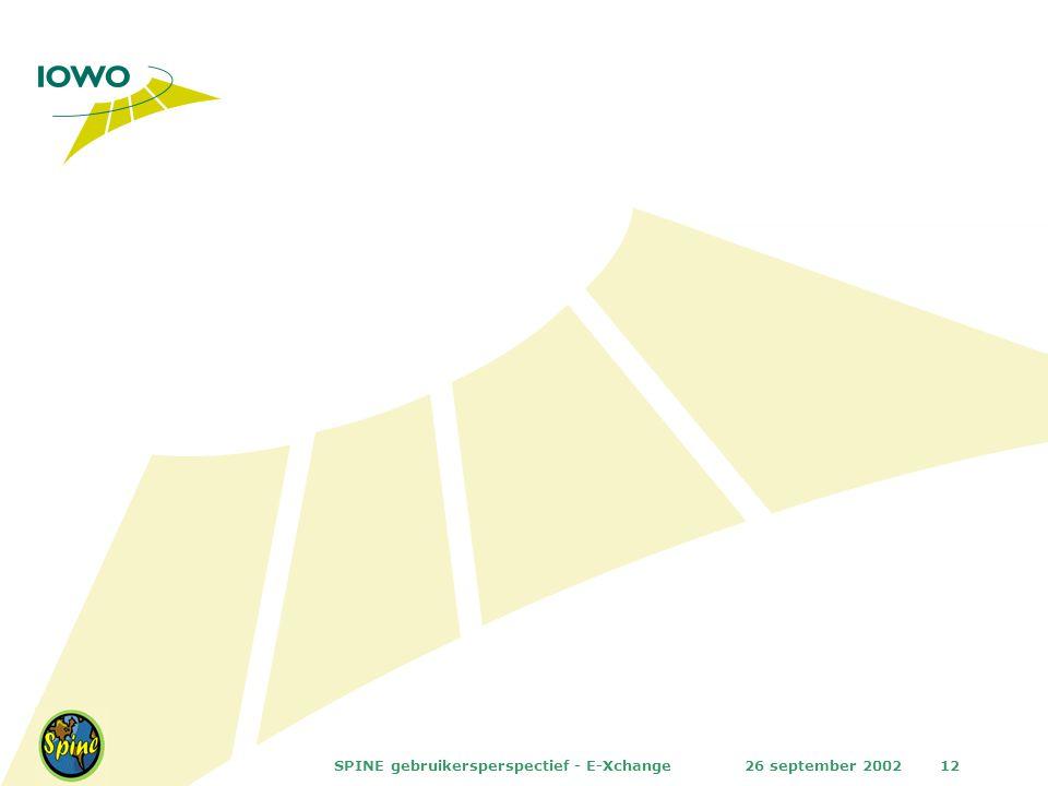 26 september 2002SPINE gebruikersperspectief - E-Xchange12