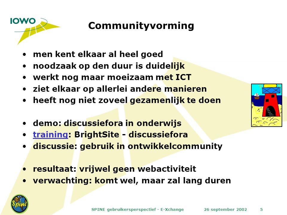 26 september 2002SPINE gebruikersperspectief - E-Xchange5 Communityvorming men kent elkaar al heel goed noodzaak op den duur is duidelijk werkt nog ma