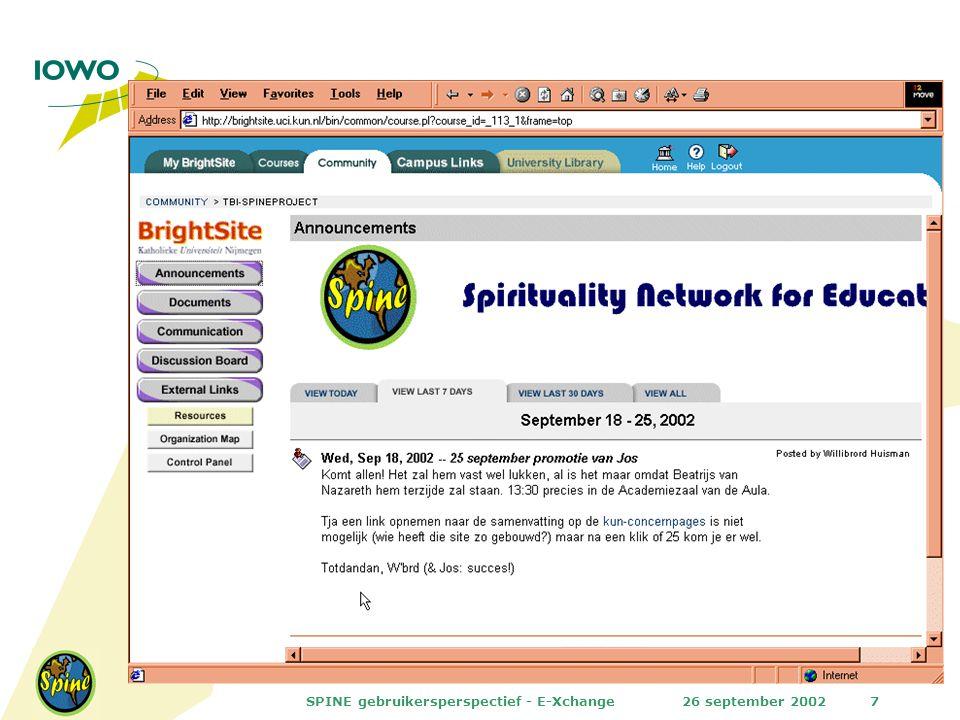 26 september 2002SPINE gebruikersperspectief - E-Xchange7