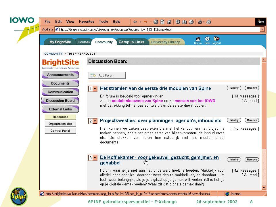26 september 2002SPINE gebruikersperspectief - E-Xchange8