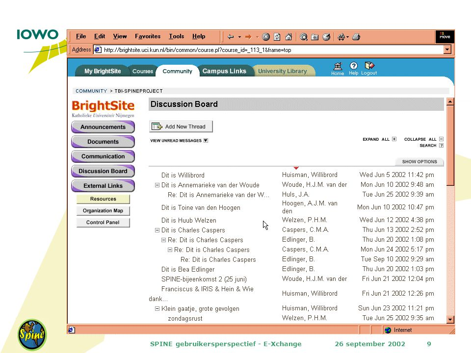 26 september 2002SPINE gebruikersperspectief - E-Xchange9
