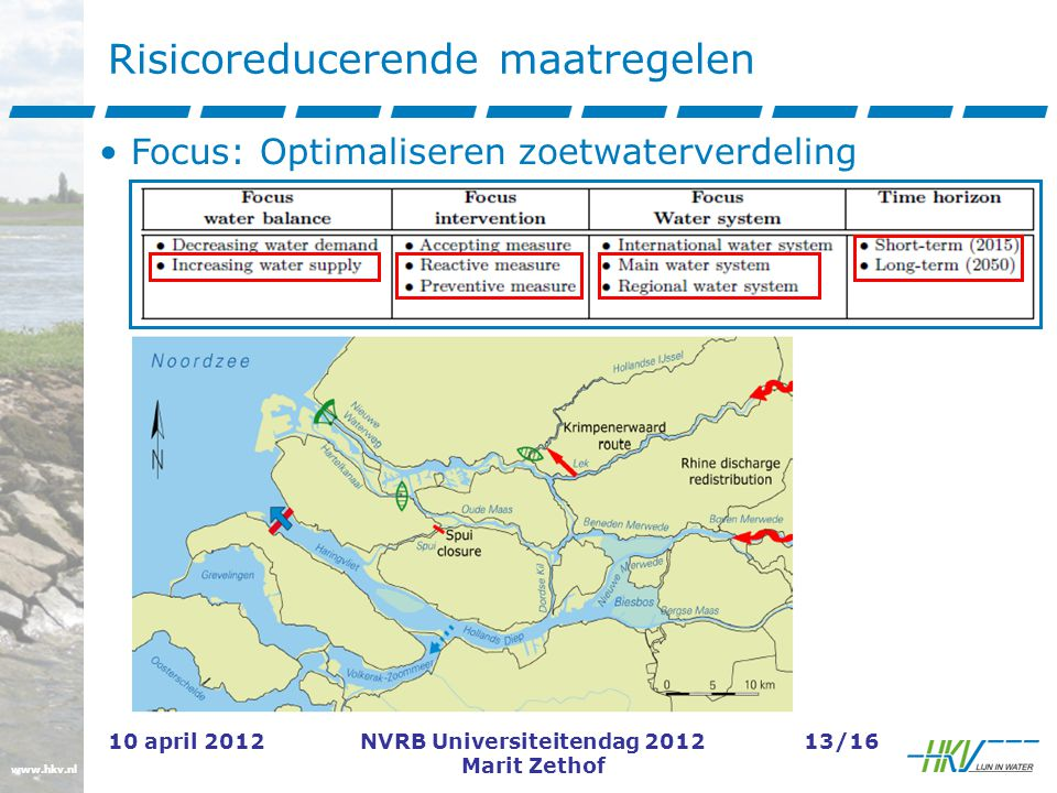 www.hkv.nl 10 april 2012NVRB Universiteitendag 2012 Marit Zethof 13/16 Risicoreducerende maatregelen Focus: Optimaliseren zoetwaterverdeling