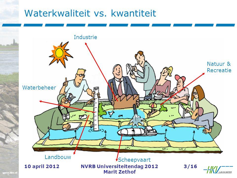 www.hkv.nl 10 april 2012NVRB Universiteitendag 2012 Marit Zethof 3/16 Waterkwaliteit vs.
