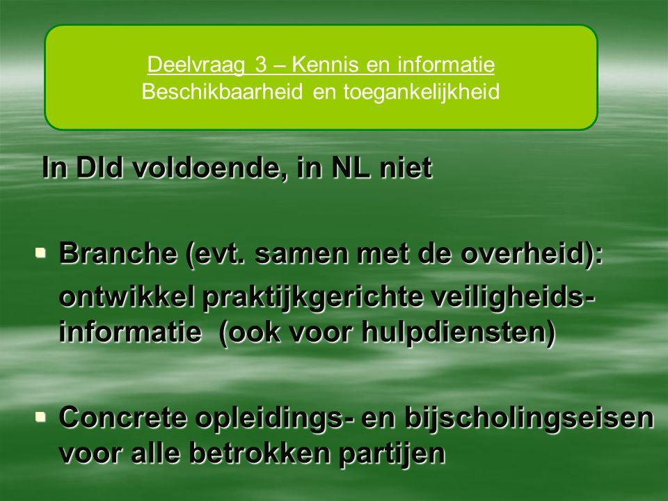 In Dld voldoende, in NL niet In Dld voldoende, in NL niet  Branche (evt. samen met de overheid): ontwikkel praktijkgerichte veiligheids- informatie (