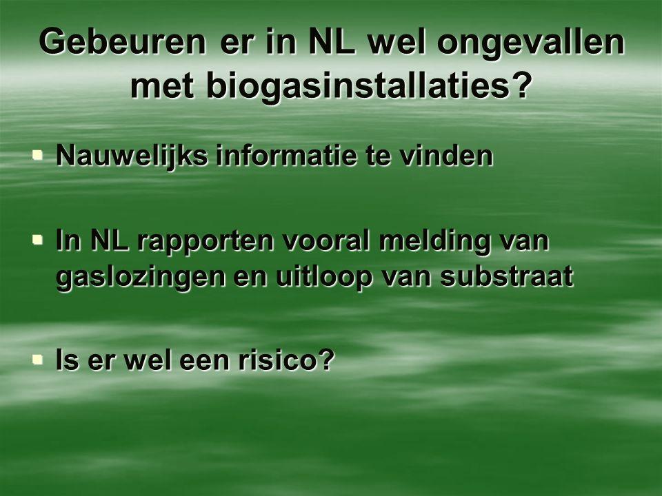 Gebeuren er in NL wel ongevallen met biogasinstallaties?  Nauwelijks informatie te vinden  In NL rapporten vooral melding van gaslozingen en uitloop