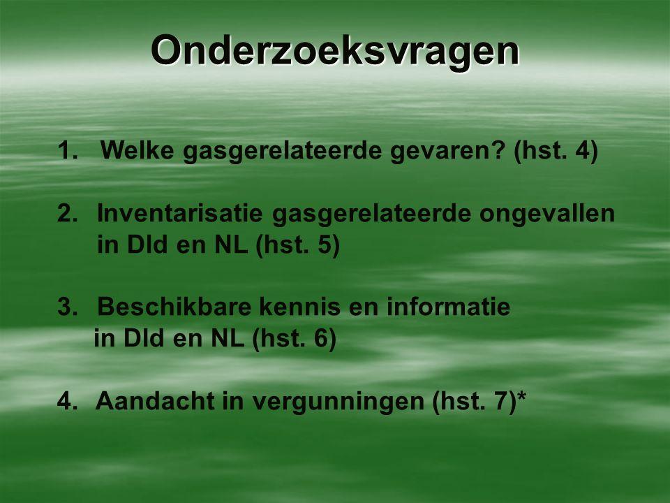 Onderzoeksvragen 1. Welke gasgerelateerde gevaren? (hst. 4) 2. Inventarisatie gasgerelateerde ongevallen in Dld en NL (hst. 5) 3. Beschikbare kennis e