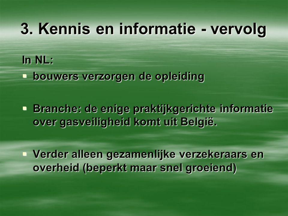 3. Kennis en informatie - vervolg In NL:  bouwers verzorgen de opleiding  Branche: de enige praktijkgerichte informatie over gasveiligheid komt uit
