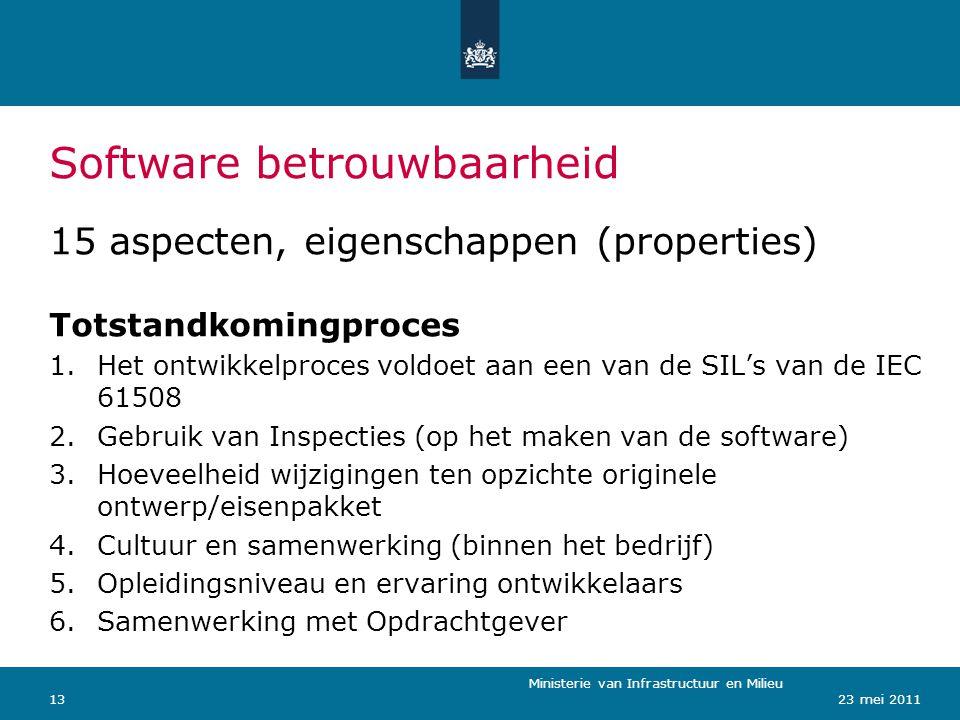 Ministerie van Verkeer en Waterstaat 1323 mei 2011 Software betrouwbaarheid Ministerie van Infrastructuur en Milieu 15 aspecten, eigenschappen (proper
