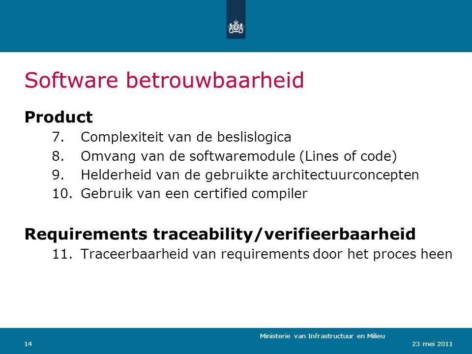 Ministerie van Verkeer en Waterstaat 1423 mei 2011 Software betrouwbaarheid Ministerie van Infrastructuur en Milieu Product 7.Complexiteit van de besl