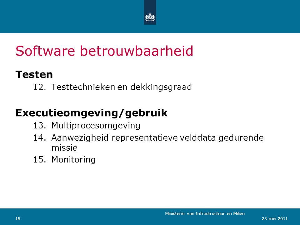 Ministerie van Verkeer en Waterstaat 1523 mei 2011 Software betrouwbaarheid Ministerie van Infrastructuur en Milieu Testen 12.Testtechnieken en dekkin