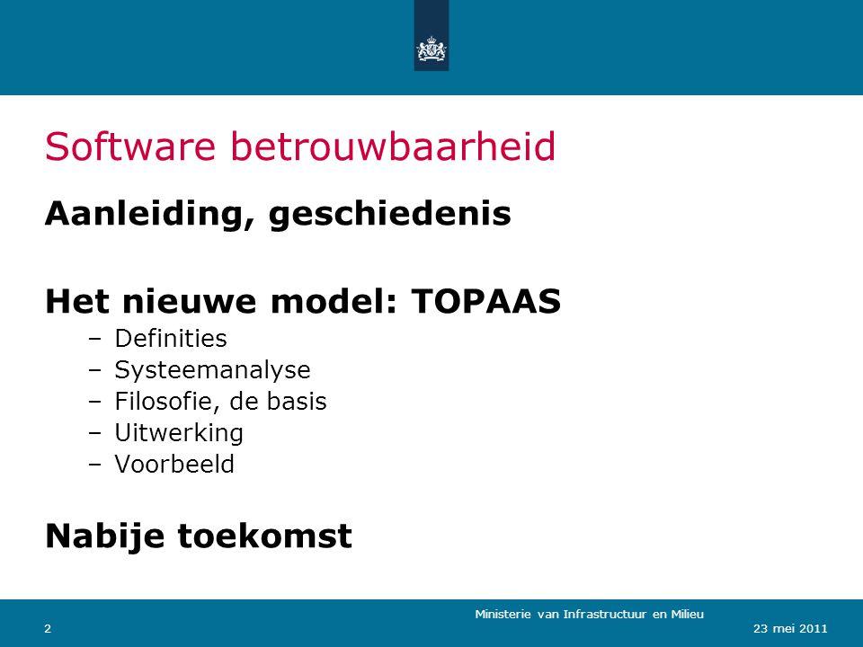 Ministerie van Verkeer en Waterstaat 223 mei 2011 Software betrouwbaarheid Ministerie van Infrastructuur en Milieu Aanleiding, geschiedenis Het nieuwe model: TOPAAS –Definities –Systeemanalyse –Filosofie, de basis –Uitwerking –Voorbeeld Nabije toekomst