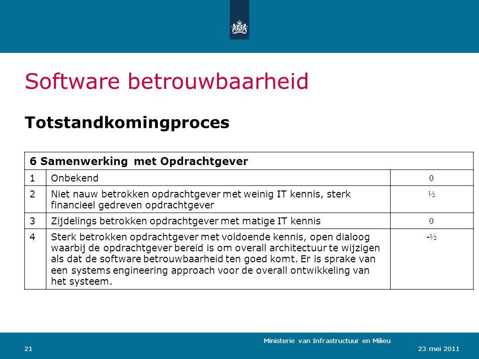 Ministerie van Verkeer en Waterstaat 2123 mei 2011 Software betrouwbaarheid Totstandkomingproces Ministerie van Infrastructuur en Milieu 6 Samenwerkin
