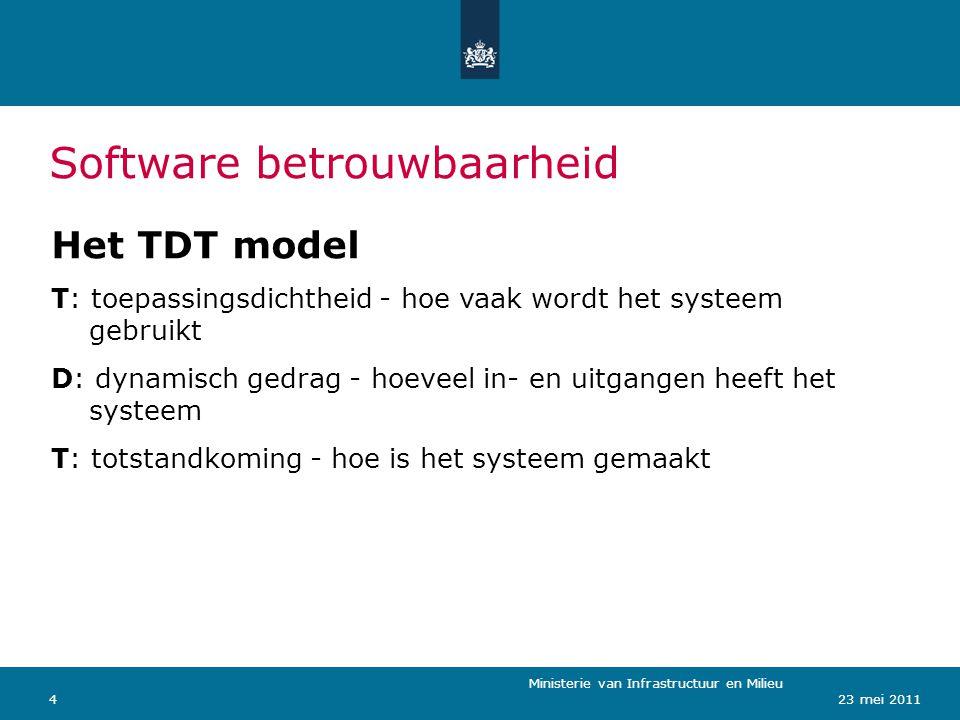 Ministerie van Verkeer en Waterstaat 423 mei 2011 Software betrouwbaarheid Ministerie van Infrastructuur en Milieu Het TDT model T: toepassingsdichtheid - hoe vaak wordt het systeem gebruikt D: dynamisch gedrag - hoeveel in- en uitgangen heeft het systeem T: totstandkoming - hoe is het systeem gemaakt
