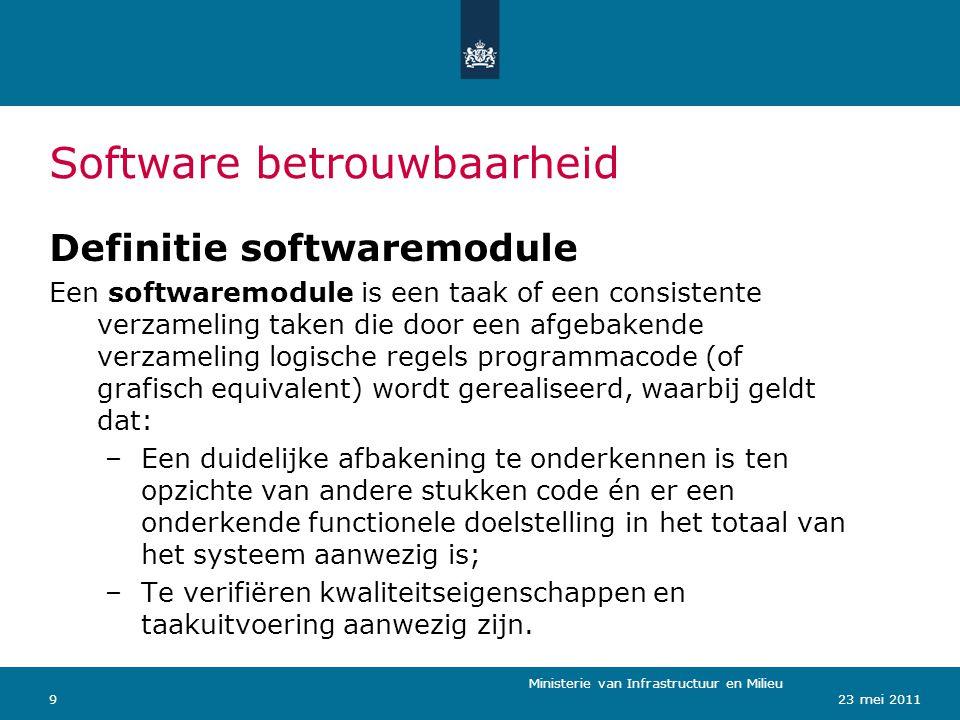Ministerie van Verkeer en Waterstaat 923 mei 2011 Software betrouwbaarheid Ministerie van Infrastructuur en Milieu Definitie softwaremodule Een softwa