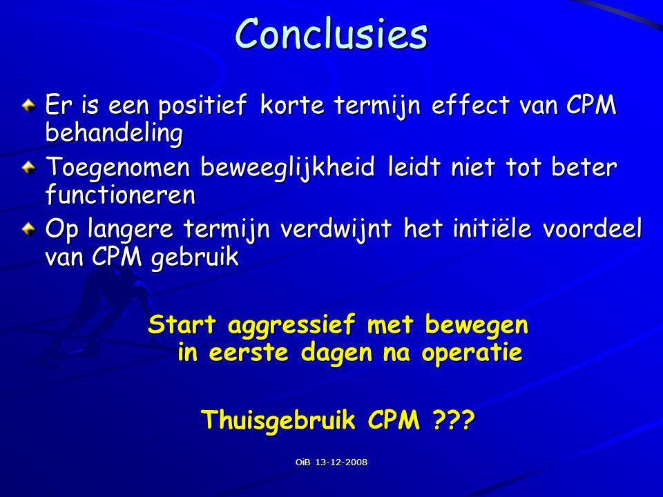 OiB 13-12-2008Conclusies Er is een positief korte termijn effect van CPM behandeling Toegenomen beweeglijkheid leidt niet tot beter functioneren Op la