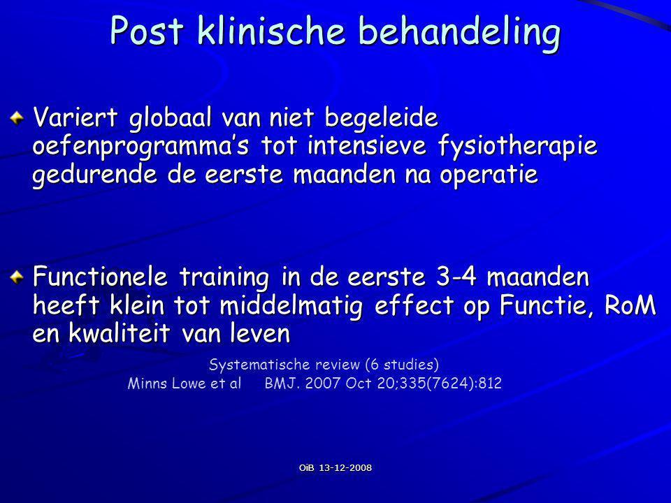 OiB 13-12-2008 Post klinische behandeling Variert globaal van niet begeleide oefenprogramma's tot intensieve fysiotherapie gedurende de eerste maanden