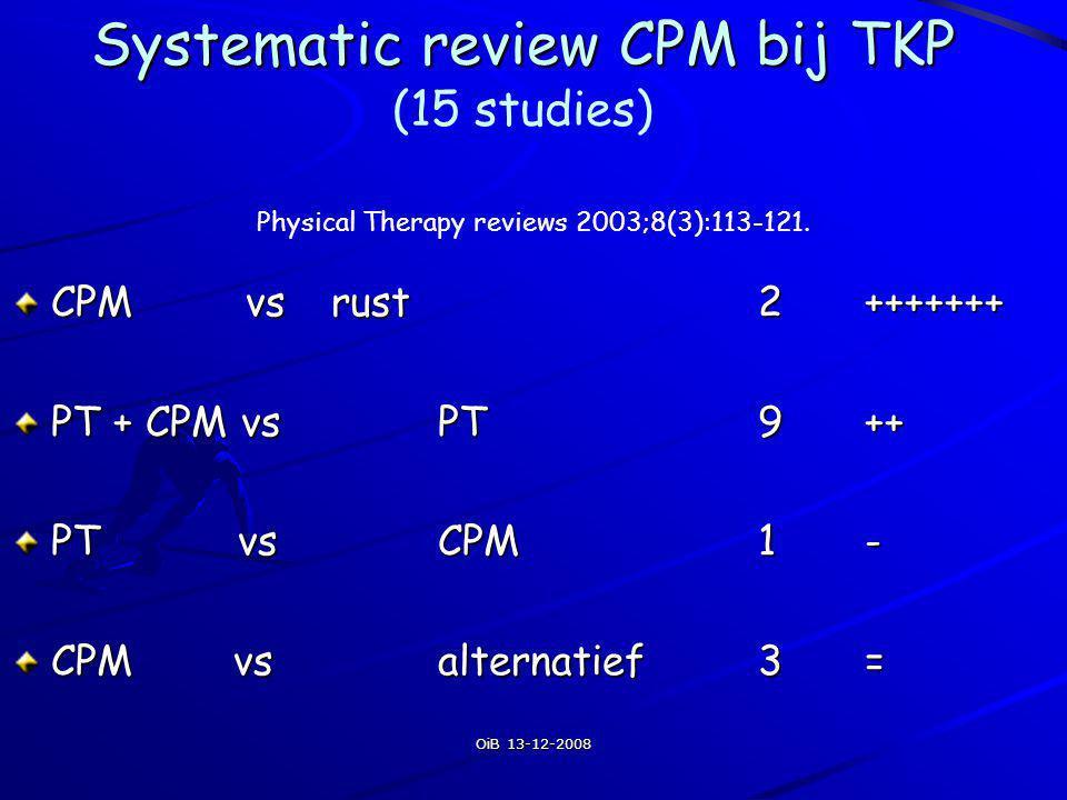 OiB 13-12-2008 Resultaten pt + cpm vs pt Er is matig bewijs voor mobiliteitswinst op korte termijn bij gebruik van CPM (4°-8°) Geen lange termijn effecten van cpm gebruik Nog onduidelijk hoe (rom en duur), hoe lang (uren/dag) Effectiviteit in nieuwe benadering?