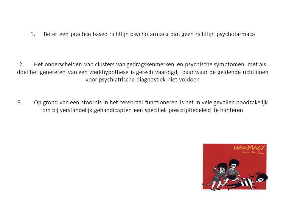 1.Beter een practice based richtlijn psychofarmaca dan geen richtlijn psychofarmaca 2.