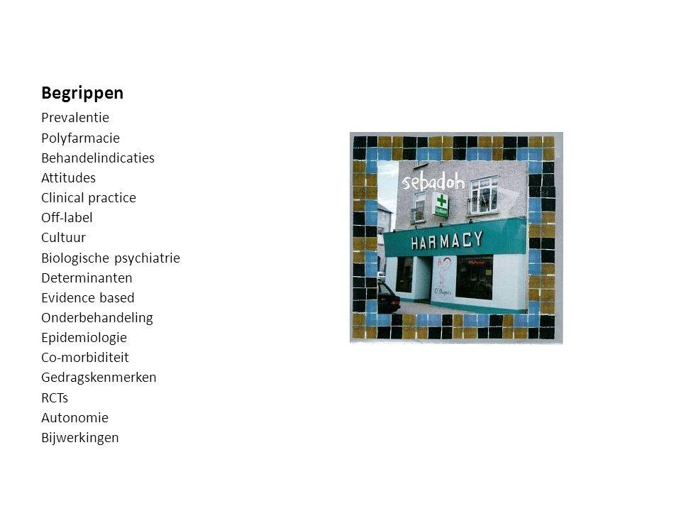 Begrippen Prevalentie Polyfarmacie Behandelindicaties Attitudes Clinical practice Off-label Cultuur Biologische psychiatrie Determinanten Evidence bas