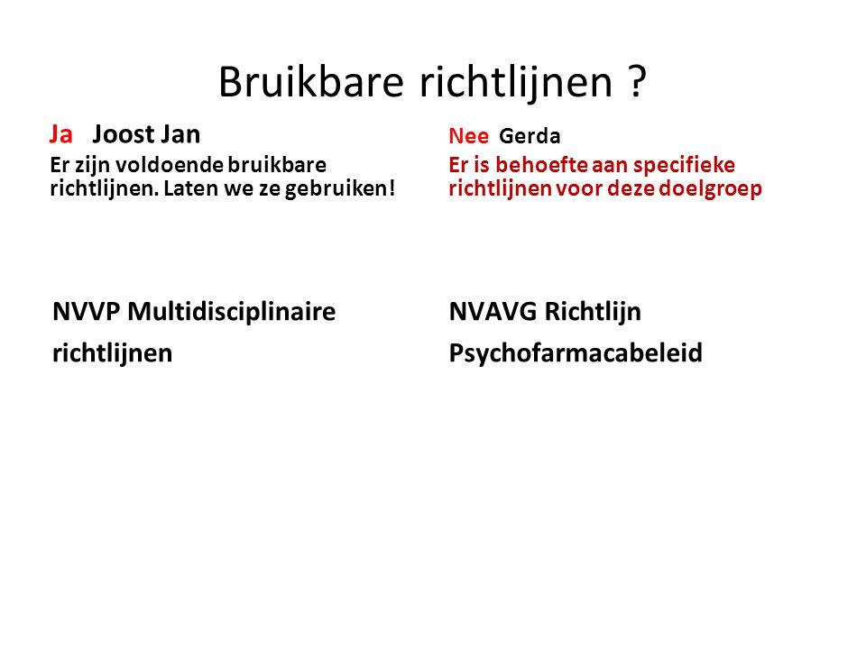 Bruikbare richtlijnen .Ja Joost Jan Er zijn voldoende bruikbare richtlijnen.