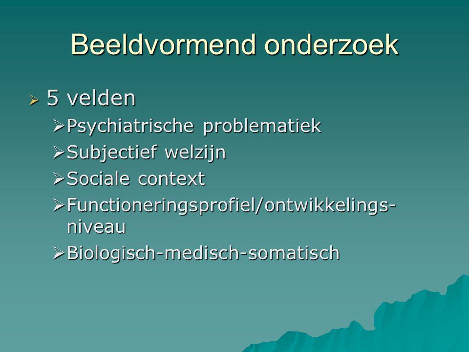 Beeldvormend onderzoek  5 velden  Psychiatrische problematiek  Subjectief welzijn  Sociale context  Functioneringsprofiel/ontwikkelings- niveau  Biologisch-medisch-somatisch