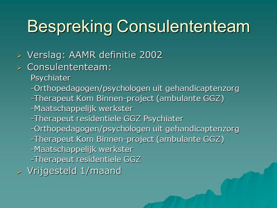 Bespreking Consulententeam  Verslag: AAMR definitie 2002  Consulententeam: Psychiater -Orthopedagogen/psychologen uit gehandicaptenzorg -Therapeut Kom Binnen-project (ambulante GGZ) -Maatschappelijk werkster -Therapeut residentiele GGZ Psychiater -Orthopedagogen/psychologen uit gehandicaptenzorg -Therapeut Kom Binnen-project (ambulante GGZ) -Maatschappelijk werkster -Therapeut residentiele GGZ  Vrijgesteld 1/maand