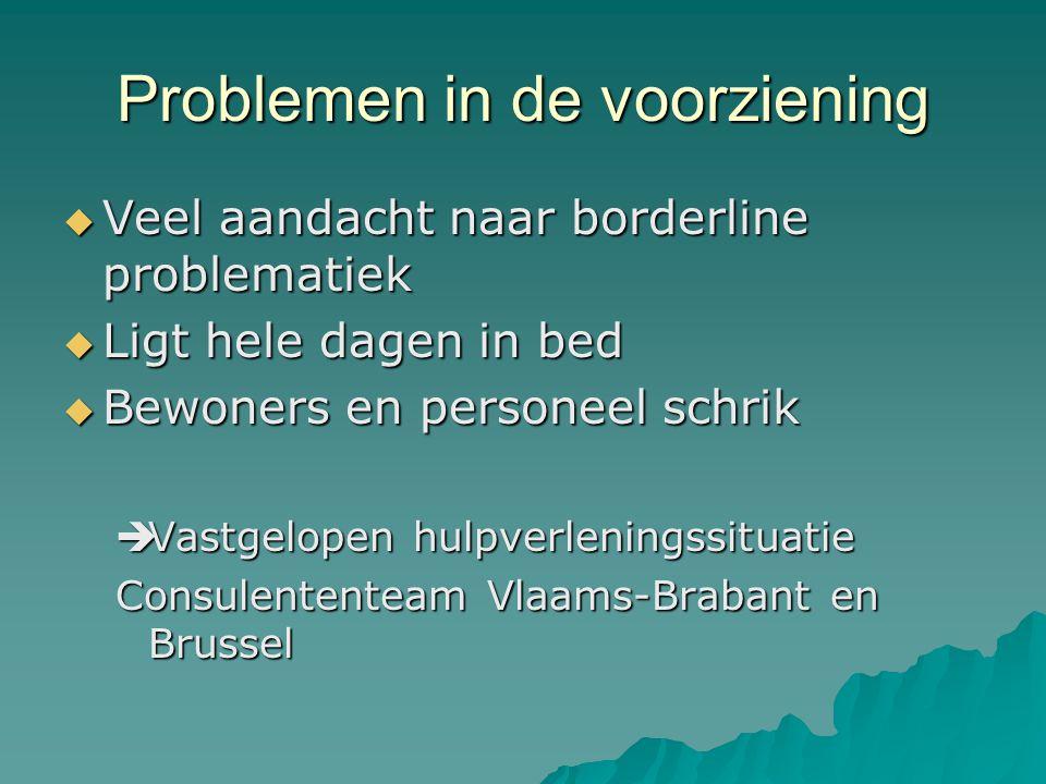 Problemen in de voorziening  Veel aandacht naar borderline problematiek  Ligt hele dagen in bed  Bewoners en personeel schrik  Vastgelopen hulpverleningssituatie Consulententeam Vlaams-Brabant en Brussel