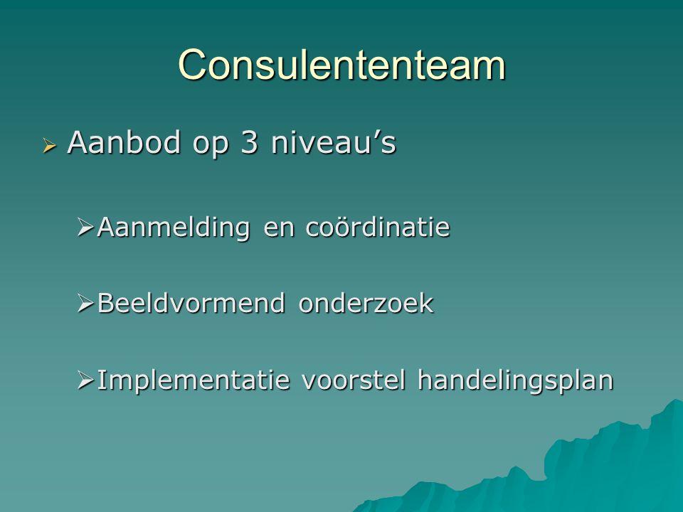 Consulententeam  Aanbod op 3 niveau's  Aanmelding en coördinatie  Beeldvormend onderzoek  Implementatie voorstel handelingsplan