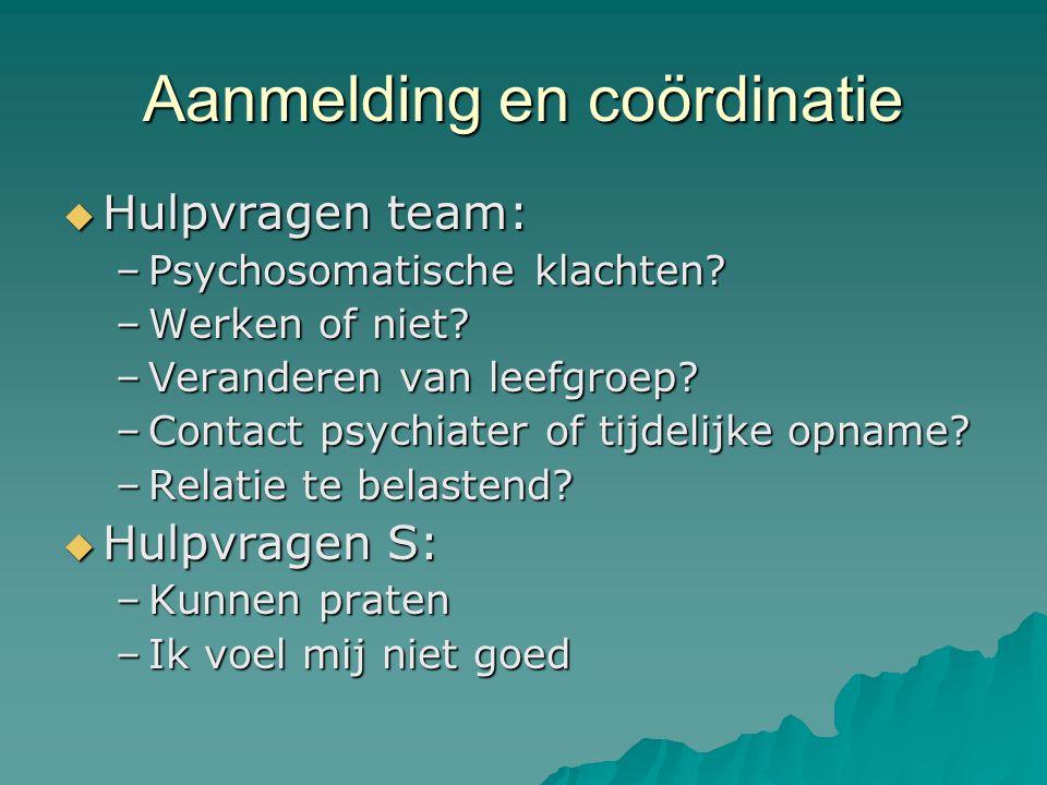 Aanmelding en coördinatie  Hulpvragen team: –Psychosomatische klachten.