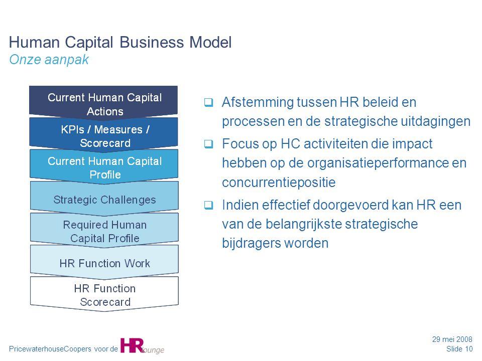 PricewaterhouseCoopers voor de 29 mei 2008 Slide 10 Human Capital Business Model Onze aanpak  Afstemming tussen HR beleid en processen en de strategi