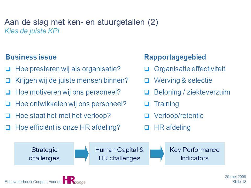 PricewaterhouseCoopers voor de 29 mei 2008 Slide 13 Business issue  Hoe presteren wij als organisatie?  Krijgen wij de juiste mensen binnen?  Hoe m