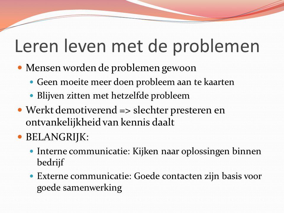 Leren leven met de problemen Mensen worden de problemen gewoon Geen moeite meer doen probleem aan te kaarten Blijven zitten met hetzelfde probleem Wer